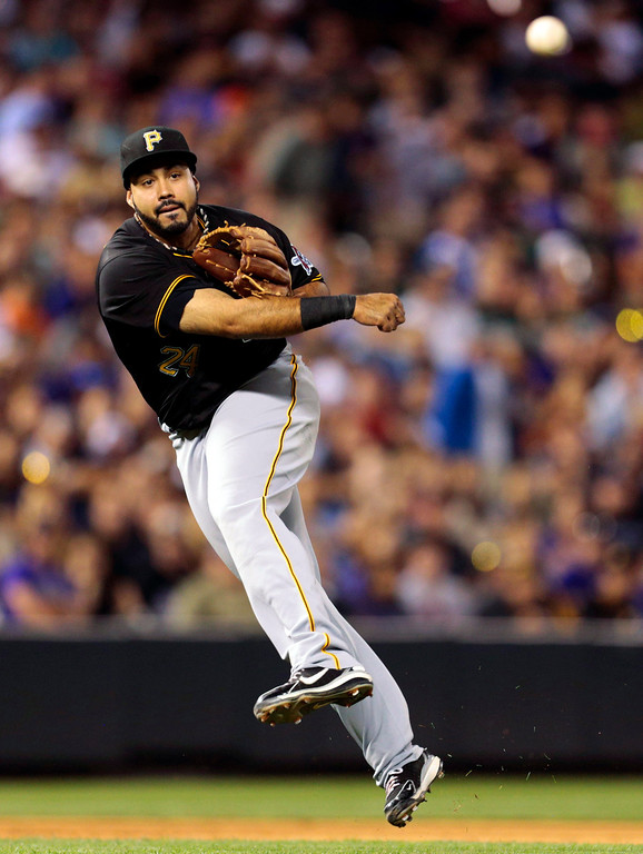 . PIttsburgh Pirates third baseman Pedro Alvarez throws to first to put out Colorado Rockies\' Wilin Rosario in the second inning of a baseball game in Denver, Saturday, Aug. 10, 2013. (AP Photo/Joe Mahoney)