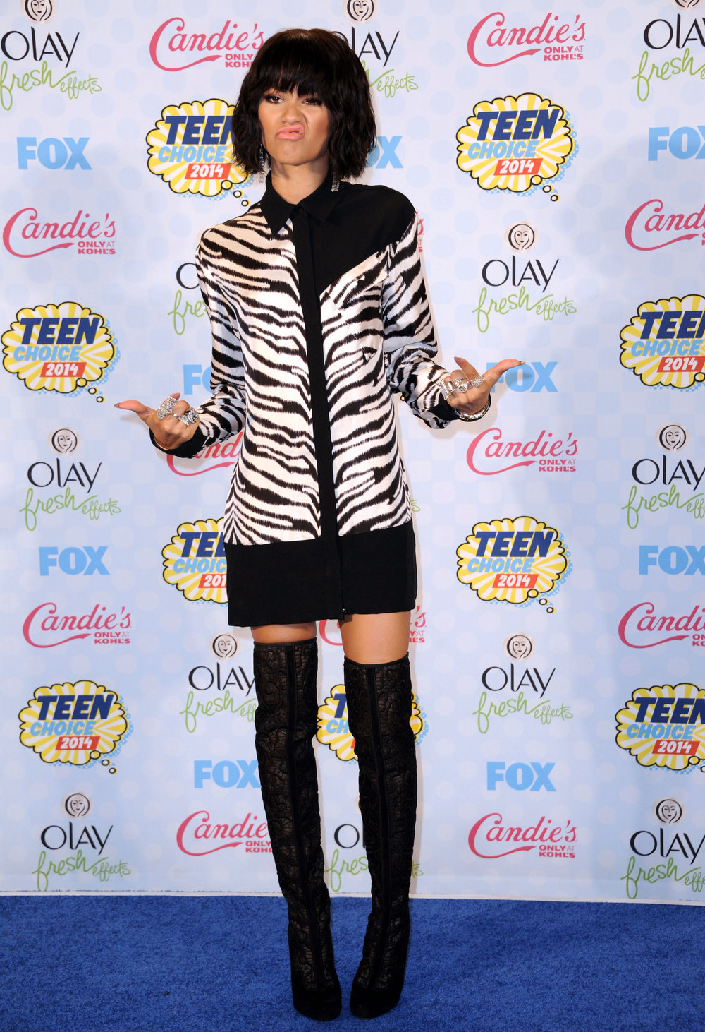 . Zendaya poses in the press room at the Teen Choice Awards at the Shrine Auditorium on Sunday, Aug. 10, 2014, in Los Angeles. (Photo by Richard Shotwell/Invision/AP)