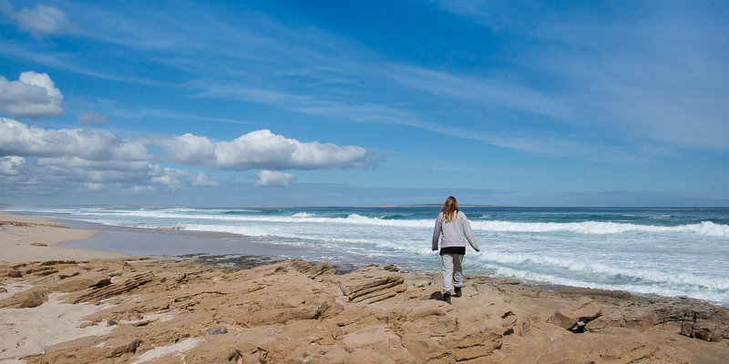 Sarah walking at a beach near Streaky Bay