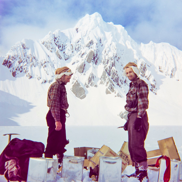 1956 Fox Glacier trip looking at Mt Douglas with the goods from an air drop.jpg