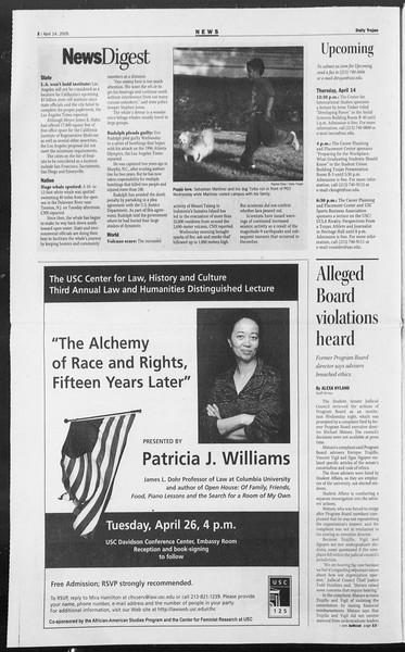 Daily Trojan, Vol. 154, No. 57, April 14, 2005