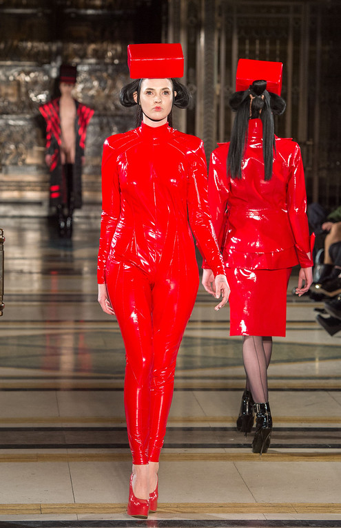 . LONDON, ENGLAND - FEBRUARY 16: A model walks the runwayduring the Pam Hogg show at Freemasons Hall during London Fashion Week Fall/Winter 2013/14 on February 16, 2013 in London, England. (Photo by Samir Hussein/Getty Images)