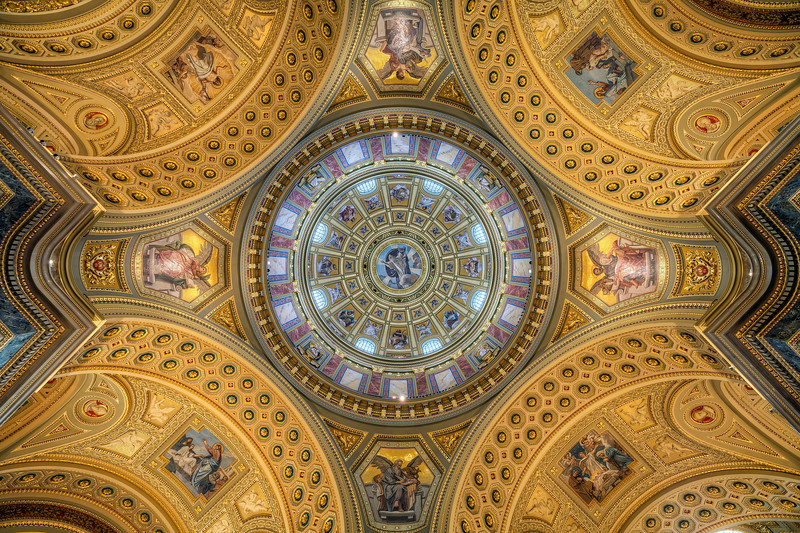 Just stunning If you look through my photos, you will find a similar one of the ceiling in the St. Stephens Basilica in Budapest. It really interesting how just rotating your camera, can create such a different image. Event the guide, assigned to me in the basilica, had to look up when he saw this photo, because he didn't understand how I could take a photo like this :)