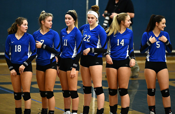 11/1/2019 Mike Orazzi | StaffrBristol Eastern during Friday night's girls volleyball match with Lyman Memorial in Bristol.