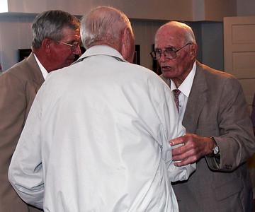 """""""Man talk.""""  Bob Galey, Earl Gue, and Leo Daniels - 25 Mar 2012"""