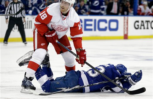 . Detroit Red Wings center Joakim Andersson (18), of Sweden, knocks down Tampa Bay Lightning right wing J.T. Brown (23) during the second period of Game 1 of an NHL hockey first-round playoff series Thursday, April 16, 2015, in Tampa, Fla. Brown was cut on the play. (AP Photo/Chris O\'Meara)