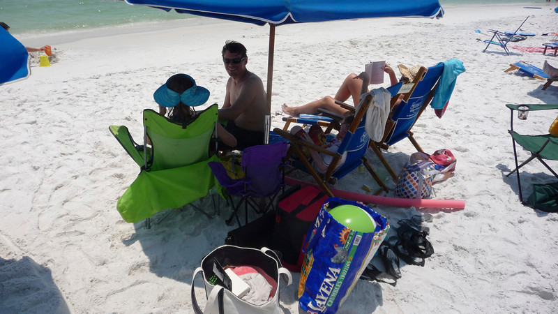 Our rental included two chairs and umbrella which was enjoyed by all.