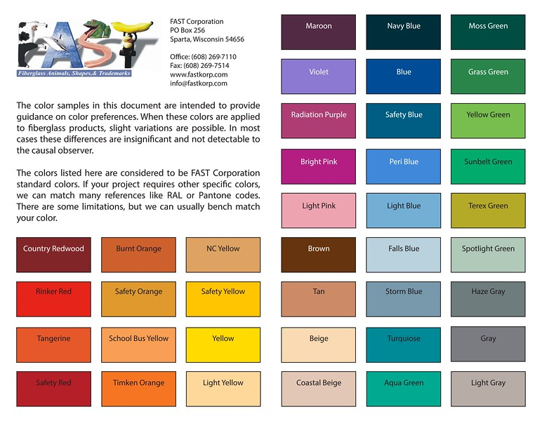 FAST Color Chart
