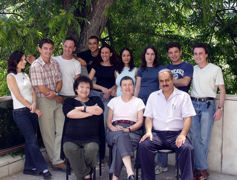 """Lea Eisenbach's lab as of June 2004: From left to right - (Sorry-don't-remember, Arthur """"Hrrero"""", Ilan, Lea, Ofir, Vered """"Givered"""", Esther, Efrat """"Eflat"""", Helena, Ezra, Me and David """"fighter"""" - Photo taken by Ziv Frenkenstein."""