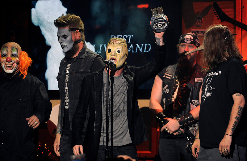. The band Slipknot accepts the Best Live Band award at the 2013 Revolver Golden Gods Award Show at Club Nokia on Thursday, May 2, 2013 in Los Angeles. (Photo by Chris Pizzello/Invision/AP)