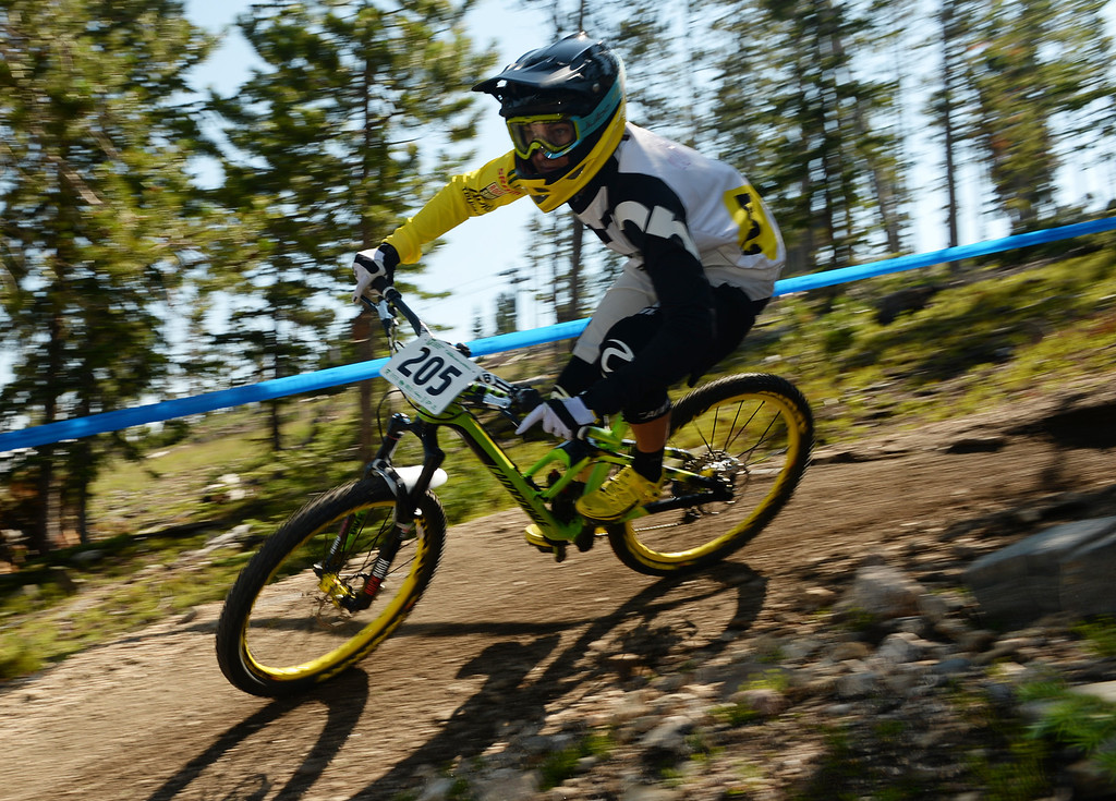 . WINTER PARK, CO. - July 26: Pauline Dieffenthaler controls the bike during the first stage of First international Enduro World Cup Championship ever in U.S. at Winter Park, Colorado. July 26, 2013.  (Photo By Hyoung Chang/The Denver Post)
