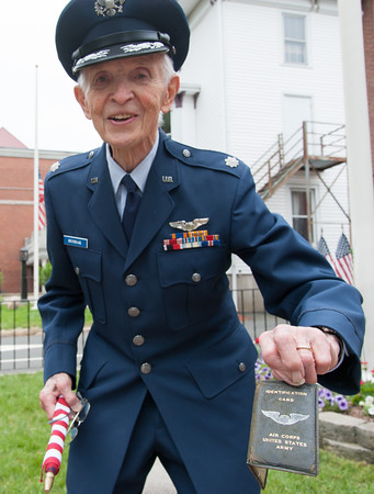 05/28/18 Wesley Bunnell   Staff A packed parade route greeted marchers in the 2018 Memorial Day Parade in Southington on Monday morning. 95 year old Air Force Veteran Walter Hushak holds his ID originally issued on Nov 2, 1944. d