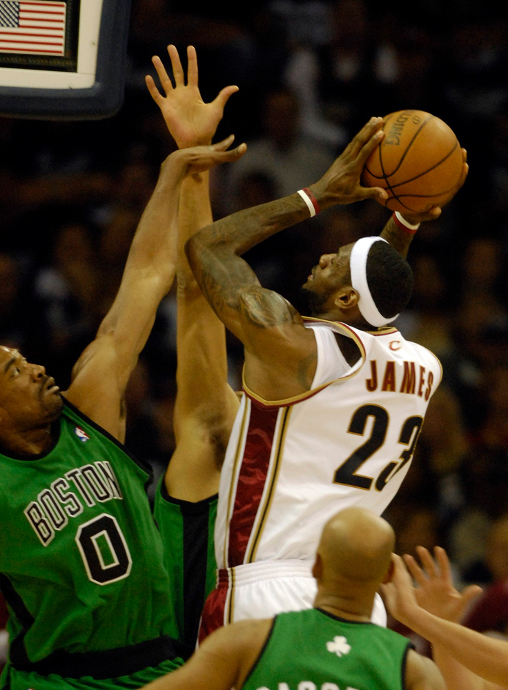 . Cavaliers forward LeBron James makes a basket in the first quarter during Game 4 of the Eastern Conference Semifinals against the Boston Celtics.