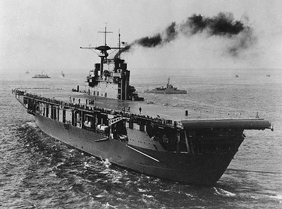 The USS Hornet (CV-8) after launching all of the B-25 bombers flown by the Doolittle Raiders.             Air Force photo