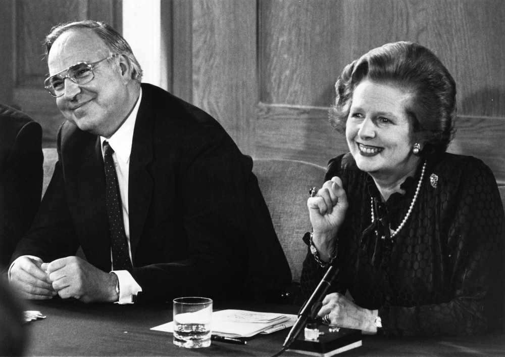 . British prime minister Margaret Thatcher and her German counterpart, Helmut Kohl, at a press conference at Number 12 Downing Street, London.  (Photo by Keystone/Getty Images)