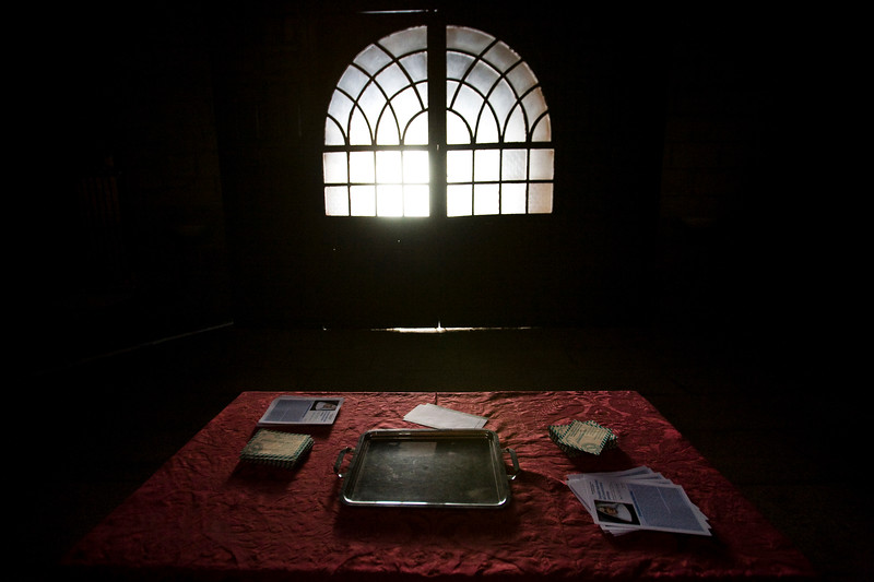 Table inside Santos Martires church, Brozas, Caceres, Spain