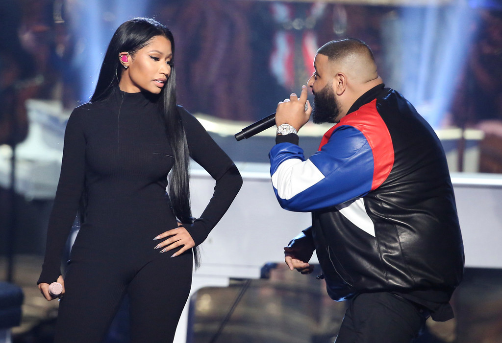 ". Nicki Minaj, left, and DJ Khaled perform ""Do You Mind\"" at the American Music Awards at the Microsoft Theater on Sunday, Nov. 20, 2016, in Los Angeles. (Photo by Matt Sayles/Invision/AP)"
