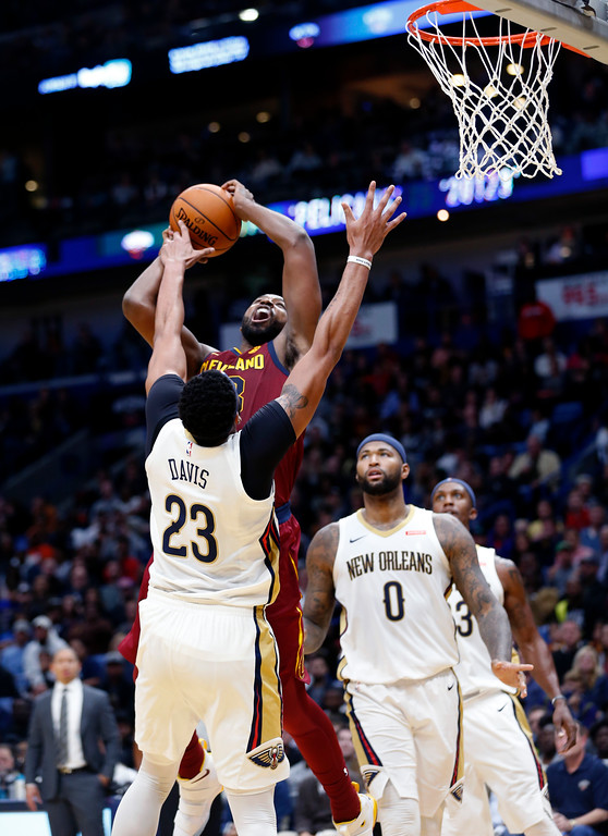 . Cleveland Cavaliers center Tristan Thompson goes to the basket against New Orleans Pelicans forward Anthony Davis (23) in the first half of an NBA basketball game in New Orleans, Saturday, Oct. 28, 2017. (AP Photo/Gerald Herbert)