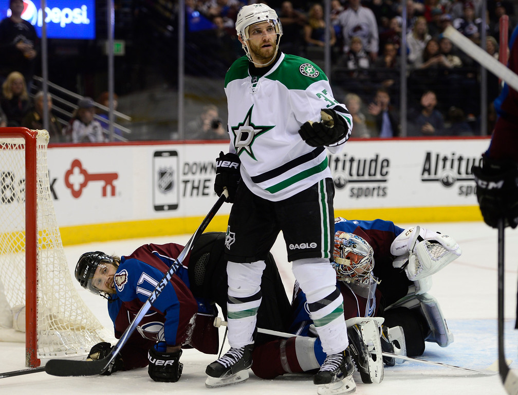 . Dallas Stars defenseman Alex Goligoski (33) tries to find out why the shot was not called a goal during the second period Saturday, February 14, 2015 at the Pepsi Center in Denver, Colorado. (Photo By Brent Lewis/The Denver Post)