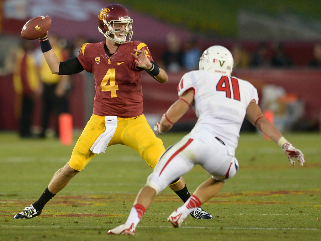 . Max Browne got some time at QB in the 4th quarter. USC defeated Fresno State 52-13 at the Los Angeles Memorial Coliseum. Los Angeles, CA. 8/30/2014(Photo by John McCoy Daily News
