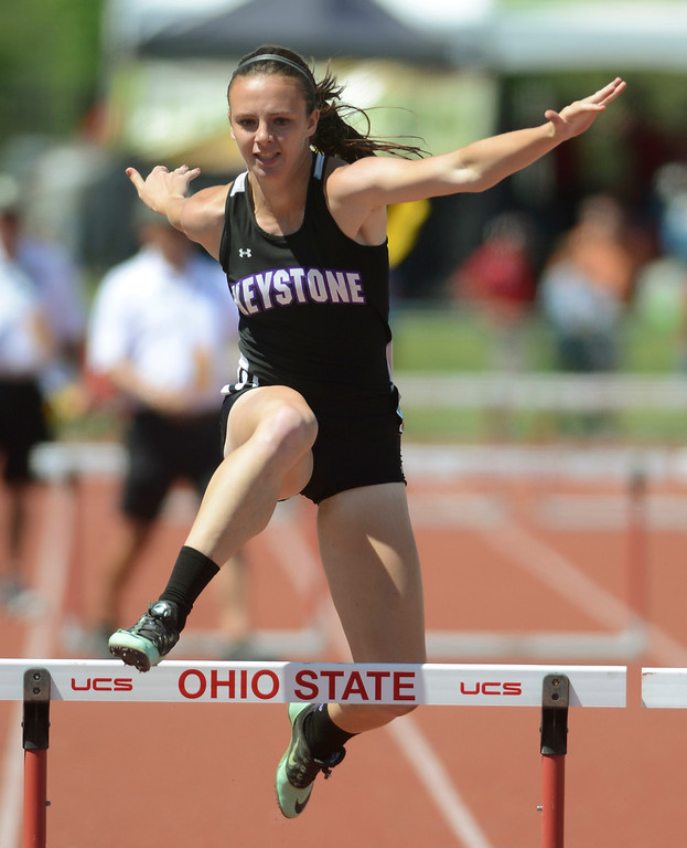 . Maribeth Joeright/MJoeright@News-Herald.com <p> LaGrange Keystone\'s Jenna Quillen qualifies for the finals in the Division II girls 300 meter hurdles during the  state championship meet in Columbus,  June 6, 2014.