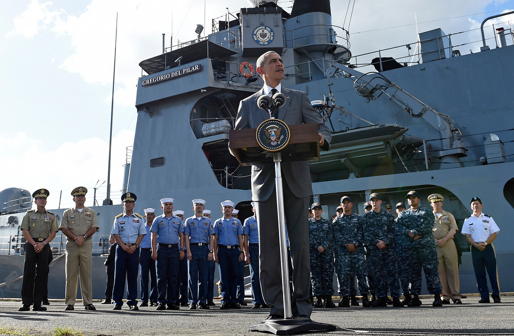 . U.S. President Barack Obama speaks to reporters after touring the BRP Gregorio del Pilar in Manila, Philippines, Tuesday, Nov. 17, 2015. The BRP Gregorio del Pilar is an advanced Philippine Navy frigate once owned by the United States. While in Manila, Obama will attend the Asia-Pacific Economic Cooperation summit with nearly two dozen other leaders. (AP Photo/Susan Walsh)