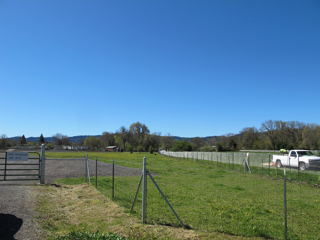 . New environmentally sensitive area fencing has been installed marking the bypass route next to the Willits Horseman\'s arena by Hearst Willits Road.