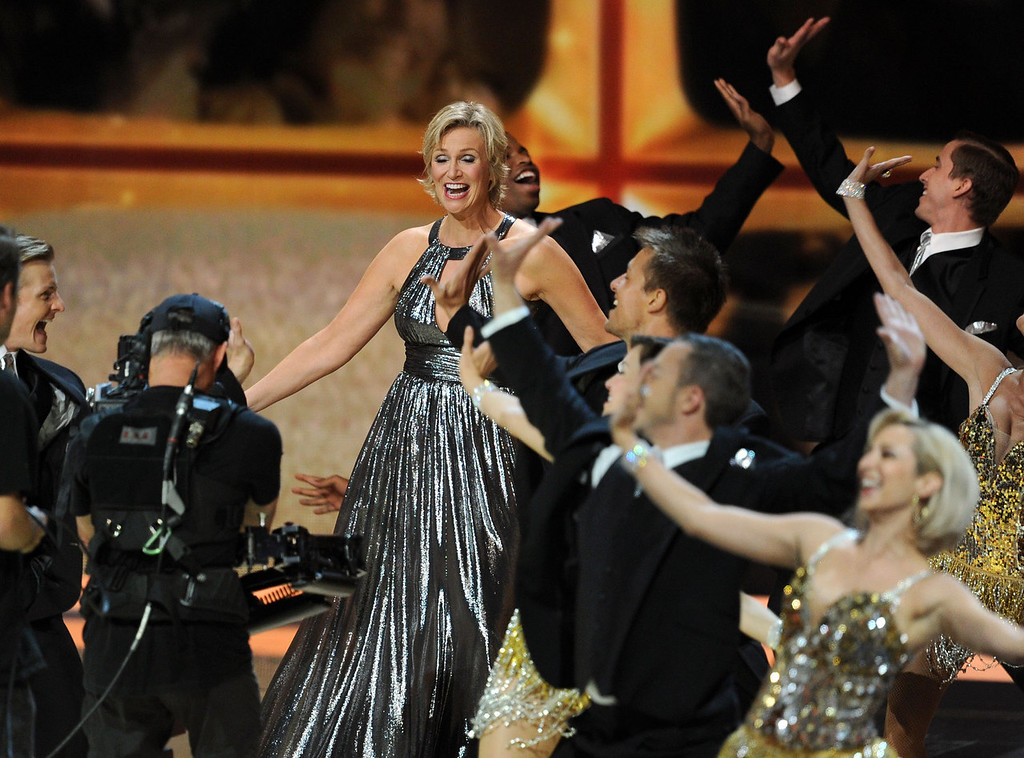 . Host Jane Lynch performs onstage during the 63rd Annual Primetime Emmy Awards held at Nokia Theatre L.A. LIVE on September 18, 2011 in Los Angeles, California.  (Photo by Kevin Winter/Getty Images)