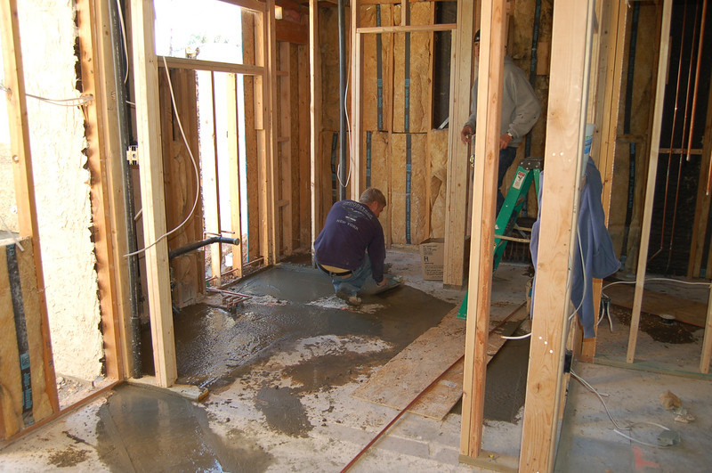 The master bath floor is slowly getting done.