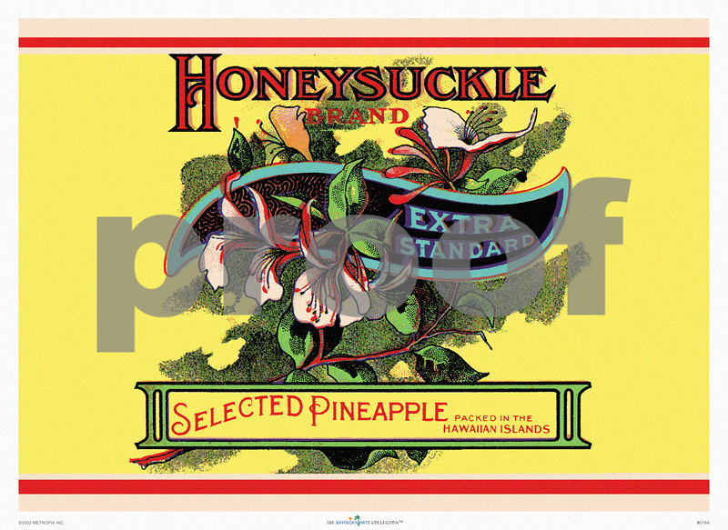 219: 'Honeysuckle' Product Label for Pineapple Brand. Ca. 1935. (PROOF watermark will not appear on your print)