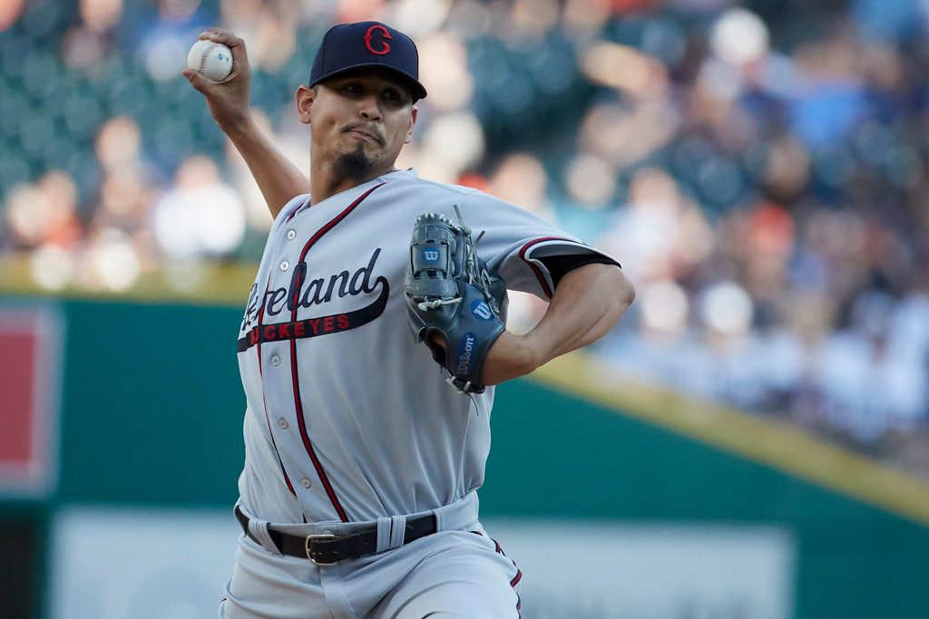. Cleveland Indians starting pitcher Carlos Carrasco (59) pitches during the first inning against the Detroit Tigers in the second baseball game of a doubleheader in Detroit, Saturday, July 1, 2017. (AP Photo/Rick Osentoski)