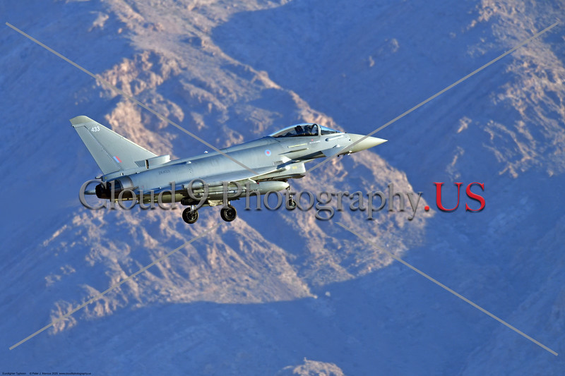 Eurofighter Typhoon-British RAF 0011 A British RAF Eurofighter Typhoon jet fighter, ZK433, landing at Nellis AFB during a Red Flag exercise in 2020, military airplane picture by Peter J. Mancus     852_7540     DONEwt.JPG