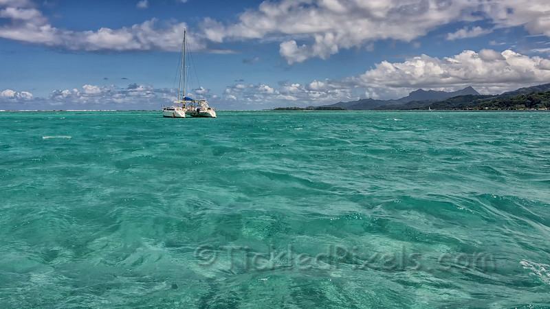 Catamaran off Raiatea