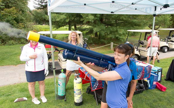 09/24/19 Wesley Bunnell | StaffrrChris Meaney, VP of Patient Care Services for Bristol Hospital, takes aim with the golf ball air cannon as her golf foursome looks on during the Ed Beardsley Little League Challenger Golf Tournament at Chippanee Golf Club on Tuesday afternoon.