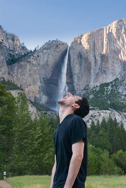 Taking a drink from Yosemite Falls!