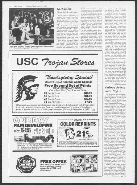 Daily Trojan, Vol. 100, No. 58, November 26, 1985