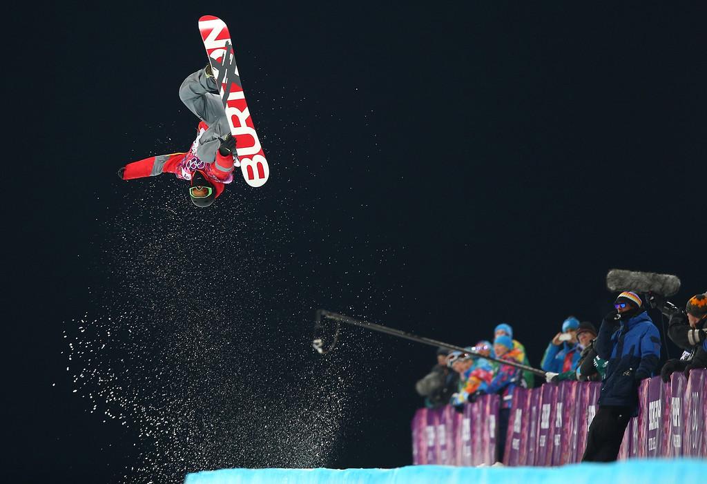 . Shi Wancheng of China competes during the Mens Snowboard Halfpipe Semifinals at Rosa Khutor Extreme Park at the Sochi 2014 Olympic Games, Krasnaya Polyana, Russia, 11 February 2014.  EPA/JENS BUETTNER