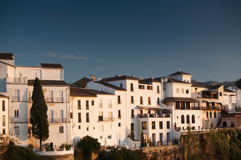 Whitewhashed houses by El Tajo gorge, town of Ronda, province of Malaga, Andalusia, Spain