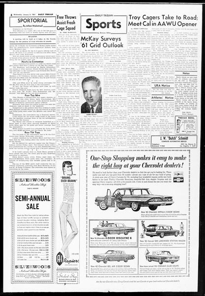 Daily Trojan, Vol. 52, No. 62, January 04, 1961