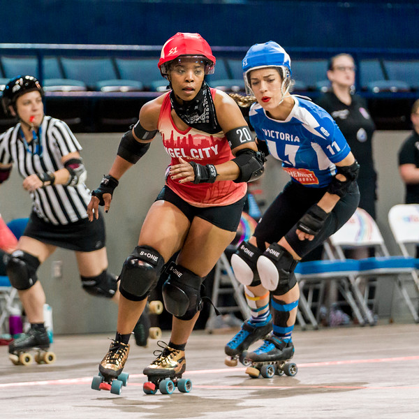 2018 WFTDA  Championships New Orleans Game6 Victoria Angel City ©Keith Bielat