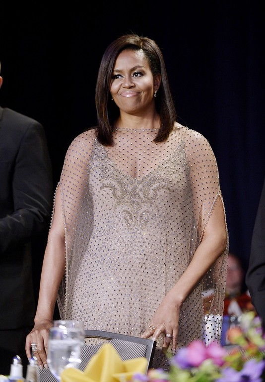 . US First Lady Michelle Obama attends the White House Correspondents\' Association annual dinner on April 30, 2016 at the Washington Hilton hotel in Washington.This is President Obama\'s eighth and final White House Correspondents\' Association dinner (Photo by Olivier Douliery-Pool/Getty Images)