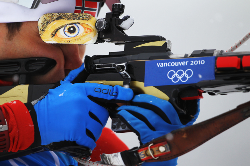 . Ole Einar Bjoerndalen of Norway shoots during the men\'s 4 x 7.5 km biathlon relay zeroing on day 15 of the 2010 Vancouver Winter Olympics at Whistler Olympic Park Cross-Country Stadium on February 26, 2010 in Whistler, Canada.  (Photo by Lars Baron/Bongarts/Getty Images)