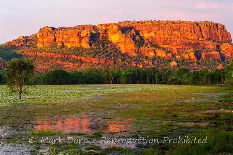 Sunset on the escarpment, Anbangbang Billabong, Kakadu, Northern Territory