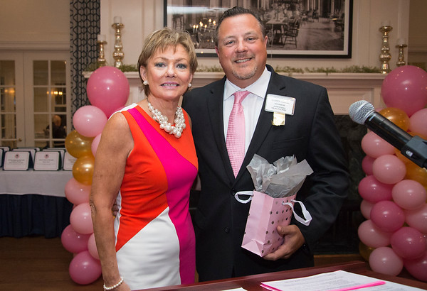 10/10/19 Wesley Bunnell | StaffrrThe CT Breast Health Initiative held their award dinner at Shuttle Meadow Country Club to honor their donors. President of the CT Breast Health Initiative Joyce Bray poses for a photo with Gary Havican who is representing sponsor Hartford Healthcare.