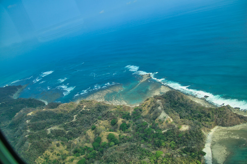 Aerial view of tropical beaches in Costa Rica