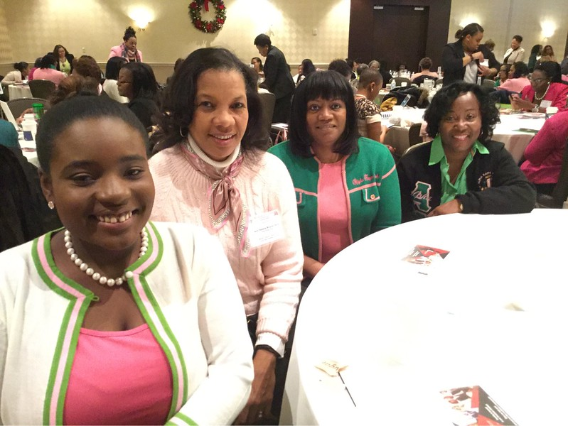 Mu Delta Chapter Officer, Mekayla Tucker, with TOO Chapter Officers Kimberly McLurkin-Harris - Graduate Advisor,  Tracy Terrell - Recording Secretary, and Sharon V. Burrell - Chapter President
