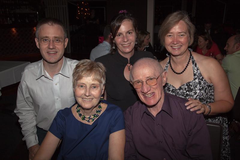 Enid Holmes' 70th birthday. Rear: Anthony Holmes, Kelly Holmes, Allision Holmes. Front: Enid Holmes, Colin Holmes.