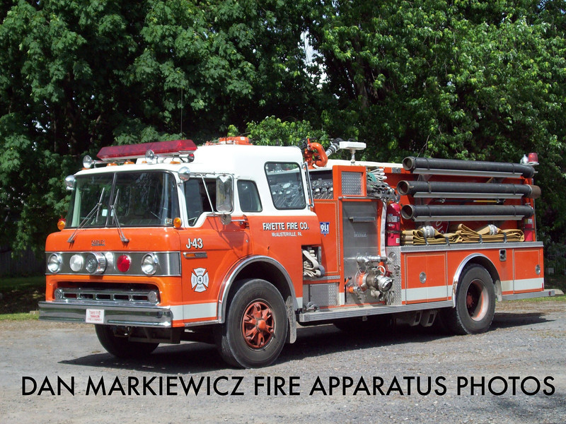 FAYETTE FIRE CO. MCALISTERVILLE ENGINE 42-2 1991 FORD/DARLEY PUMPER