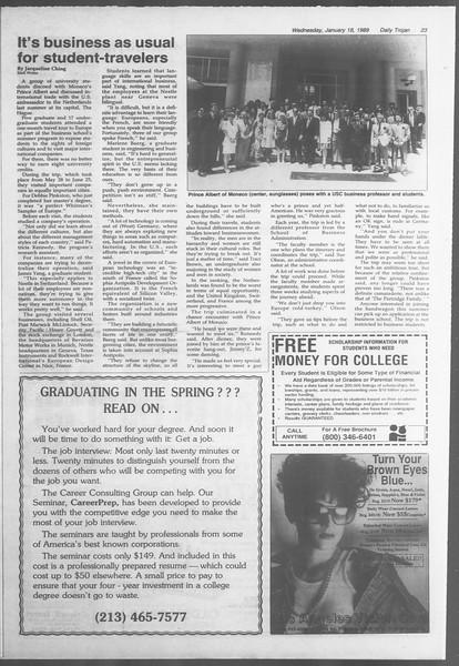 Daily Trojan, Vol. 108, No. 4, January 18, 1989