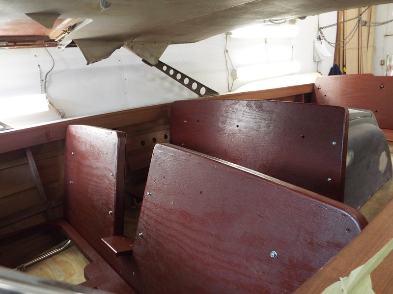 View looking back at the front and middle seats after being painted. Now ready for the upholstery shop.